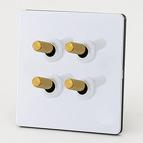 Jqchw Interruptor De Palanca Intermedio De 2 Vías De 1-4 Pandillas Interruptor De Luz De Palanca Retro 86 Interruptor De Panel De Enchufe Tipo Pared para Dormitorio, Sala De Estar, Cocina, Etc.