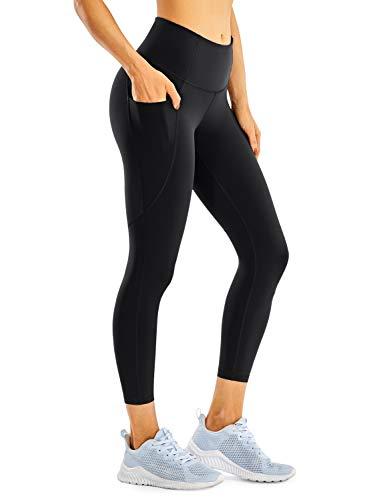 CRZ YOGA Women's Naked Feeling Workout Leggings 21'' /23'' - High Waisted Yoga Capri Crop Leggings with Pockets Black -21'' Small