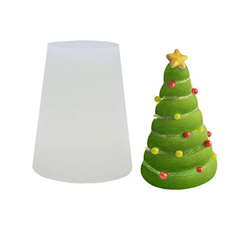 3D Christmas Tree Snow House Mold DIY Plaster Candle Baking Mold Silicone Soap Mould Clay for Cake Decoration