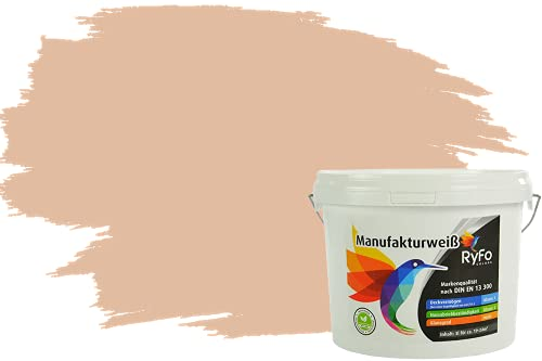 RyFo Colors Bunte Wandfarbe Manufakturweiß Sand 3l - weitere Orange Farbtöne und Größen erhältlich, Deckkraft Klasse 1, Nassabrieb Klasse 1