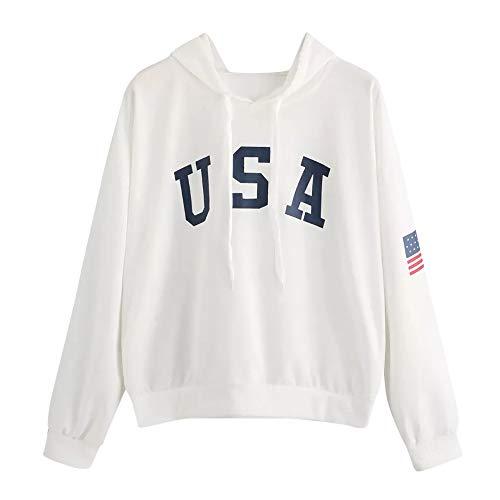 Sudaderas Adolescentes Chicas, Fossen Sudaderas Mujer Tumblr con Capucha - Emoticon Estampado Camiseta Blusa Tops de Manga Larga (Blanco~USA Patrón de Bandera, S)