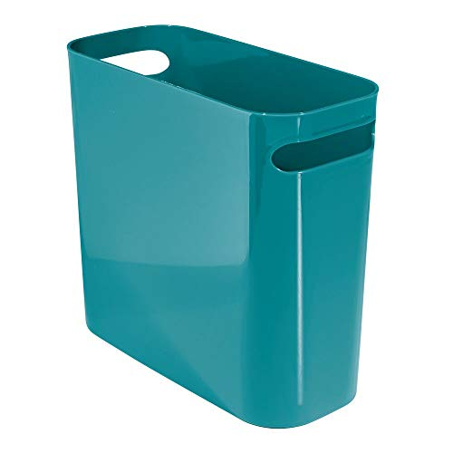 "mDesign Slim Plastic Rectangular Small Trash Can Wastebasket, Garbage Container Bin with Handles for Bathroom, Kitchen, Home Office, Dorm, Kids Room - 10"" High, Shatter-Resistant - Teal Blue"