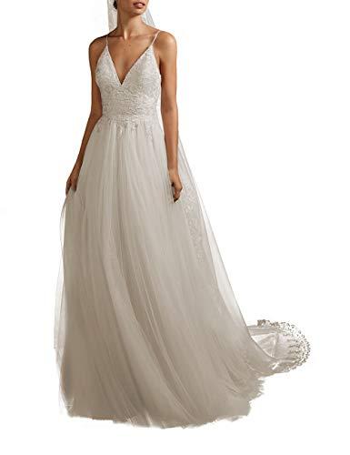 HUINI Brautkleider Lang Hochzeitskleid Spitzen Strand Brautmode Standesamt V-Ausschnitt Übergrößen für Schwanger Elfenbein 34