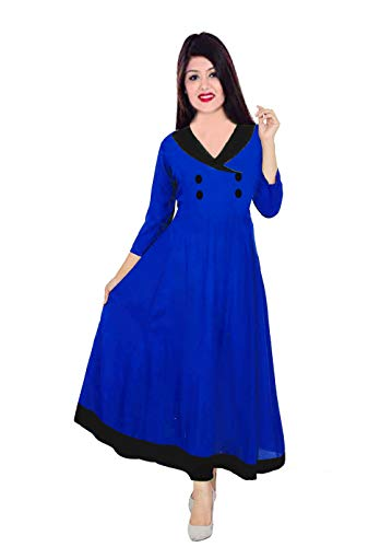 Lakkar Haveli Women's Long Dress Wedding Wear Frock Suit Ethnic Party Wear Maxi Dress Royal Blue (6XL)