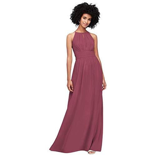 David's Bridal High-Neck Chiffon Bridesmaid Dress with Keyhole Style F19953, Chianti, 2