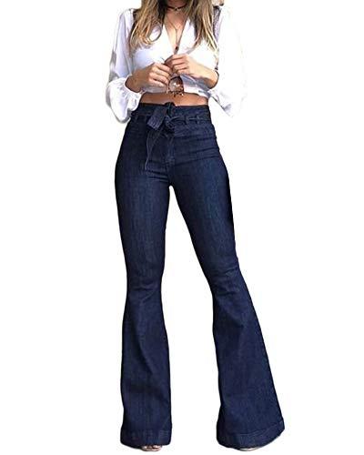 YAOTT Pantaloni A Zampa D'Elefante Jeans Donna Pantaloni Denim Larghi Blu Scuro M