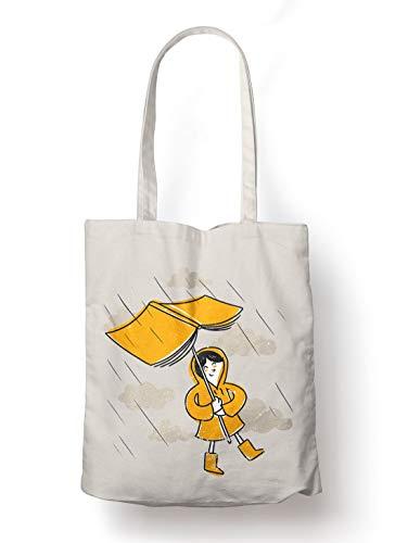 BLAK TEE Cute Book in a Rain Organic Cotton Reusable Shopping Bag Natural