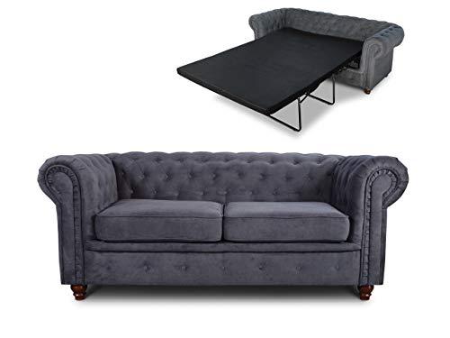 Schlafsofa Chesterfield Asti Bis 2-Sitzer, Sofa mit Schlaffunktion, Couch 2-er, Couchgarnitur, Sofagarnitur, Holzfüße, Glamour (Graphit (Capri 16))