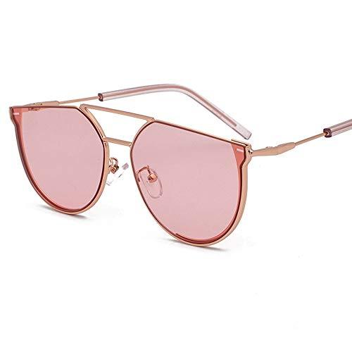 DKee Gafas de sol semicírculo para mujer, de metal, estilo retro, protección UV400, marco dorado (color: rosa)