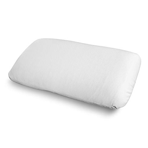 """Ambesonne Stomach Sleeper Foam Pillow, Hotel Quality Cool to The Touch Ventilation Holes with Double Brushed Inner and Outer Protective Shams, 36"""" X 20"""" X 5.5"""", White"""