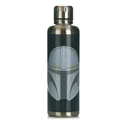 Paladone Metal Water Bottle The Mandalorian Metall-Wasserflasche, Edelstahl, 500 milliliters