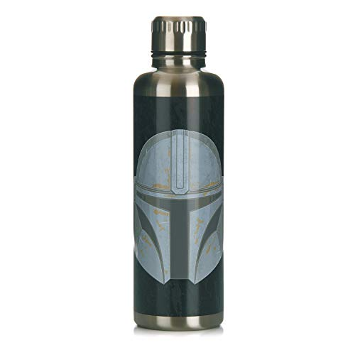 Paladone Metal Water Bottle The Mandalorian Metall-Wasserflasche, Edelstahl, 500 milliliters