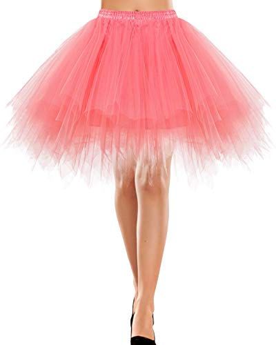 Bbonlinedress Rock a Linie Tüll Petticoat Unterrock lang Petticoat Reifrock pink Crinoline Petticoat rot Retro Tutu Ballet Tüllrock Crinoline Cosplay Coral XL