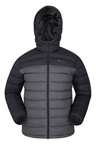 Mountain Warehouse Season Mens Padded Jacket - Water Resistant Jacket, Lightweight, Warm, Lab Tested to -30C, Microfibre Filler - for Winter Travelling, Walking Dark Grey L