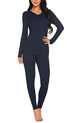 Ekouaer Womens Winter V Neck Thermal Underwear Top & Bottom Set with Fleece Lined Navy Blue