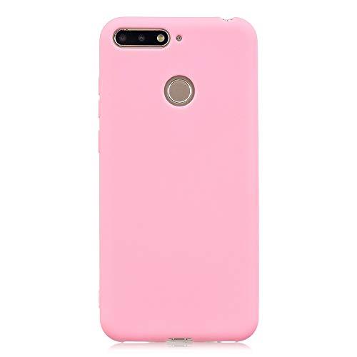 cuzz Funda para Huawei Honor 7A / Y6 2018 / Enjoy 8E+{Protector de Pantalla de Vidrio Templado} Carcasa Silicona Suave Gel Rasguño y Resistente Teléfono Móvil Cover-Rosa Oscuro