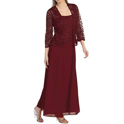 KIMODO Damen Kleider Festliches Spitzenkleid Abendkleider Hollow Out Vintage Ballkleid Kurzes A-Linie Zweiteiliges Cocktailkleid (Wein, 5XL)