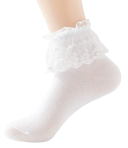 YASIDI Women Socks, Comfortable No-Show Cotton Ankle lace Socks Solid Color (White - 1 Pairs)