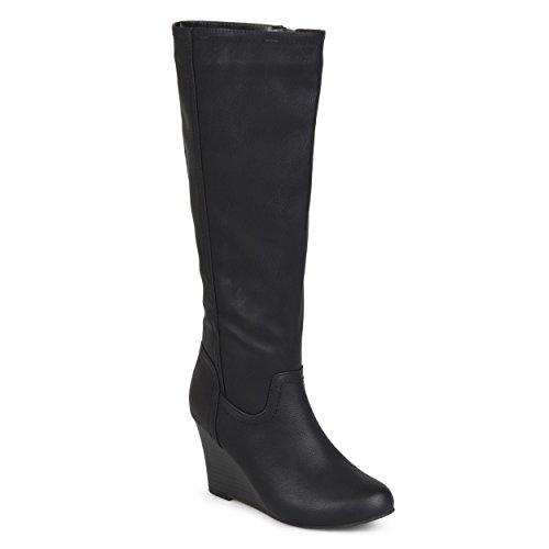 Journee Collection Womens Regular and Wide Calf Round Toe Mid-calf Wedge Boots Black, 8.5 Wide Calf US