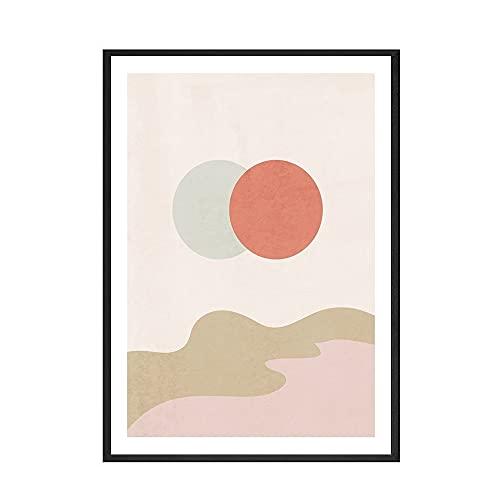 Impresión de cartel boho abstracto eclipse solar amanecer línea rosa serpiente arte imagen, pintura de lienzo sin marco familiar B 50x70cm