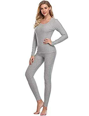 LALAVAVA Lusofie Cotton Thermal Underwear Set for Women Long Johns Base Layer Thermals (Light Grey,L) by