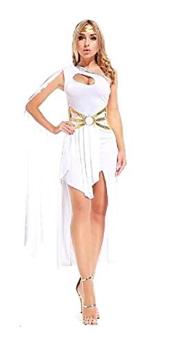 LUIDILUC Disfraz de diosa griega sexy para mujer, para carnaval, color blanco, talla única