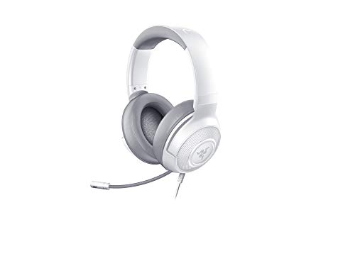 Razer Kraken X Mercury Gaming Headset Cuffie Cablate per il Gaming Multipiattaforma per PC, PS4, Xbox One e Switch, Audio Surround 7.1, Microfono Cardiode Pieghevole, Bianco/Grigio (Mercury)