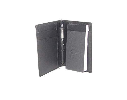 Zwart lederen notitieboekje met persoonlijke naam en bericht H0087