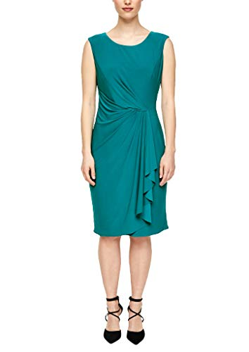 s.Oliver BLACK LABEL Damen Kleid mit eleganter Drapierung Petrol 46