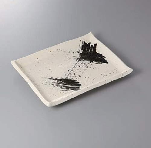 エールネット(Ale-net) 大皿 30.5cm 白釉黒刷毛目長角皿(大) 美濃焼