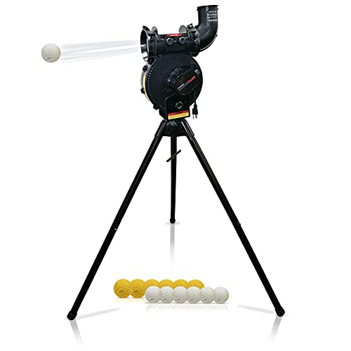 PowerNet Launch F-lite Baseball and Softball Pitching Machine | 2021 | Variable Speed Throws a Simulated 40-90 MPH | Consistent Strikes | Adjustable Height (Launch F-lite Pitching Machine)