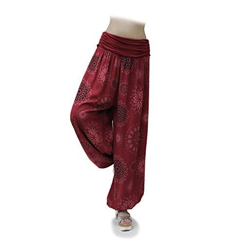 Glamexx24 Damen XXL Leichte Pumphose Haremshose Freizeithose Sommerhose Hose mit vielen Muster, Bordeaux 2, M/L