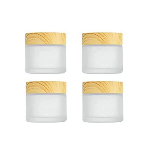Hsthe Sea Paquete de 4 frascos vacíos de 10 ml/10 g para muestras de vidrio esmerilado con tapa de grano de madera, envases de vidrio cosméticos para cosméticos, loción, crema