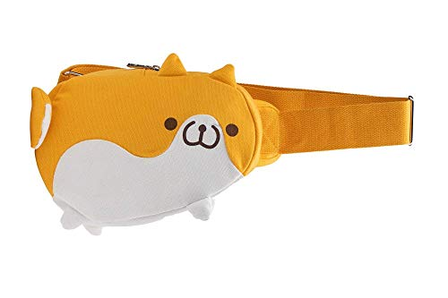 GK-O Shiba Inu Dog Chest Waist Bag Canvas Satchel Shoulder Bag (Yellow)