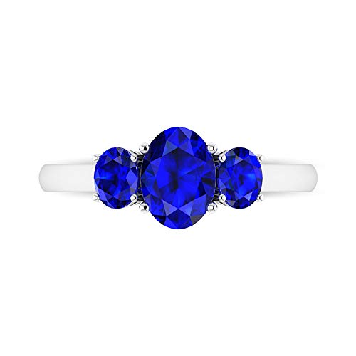 2.09 CT Oval Cut Lab Created Blue Sapphire Ring, 3 Stone Engagement Ring, Simple Gold Ring (AAAA Quality), 14K White Gold, Size:UK R