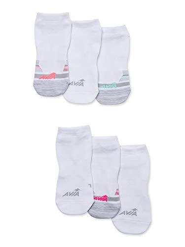 Avia Premium Women's 6-Pack Pairs Pro Tech Lightweight No Show Socks (Sock size 9-11; fits shoe size 4-10) (WHITE)