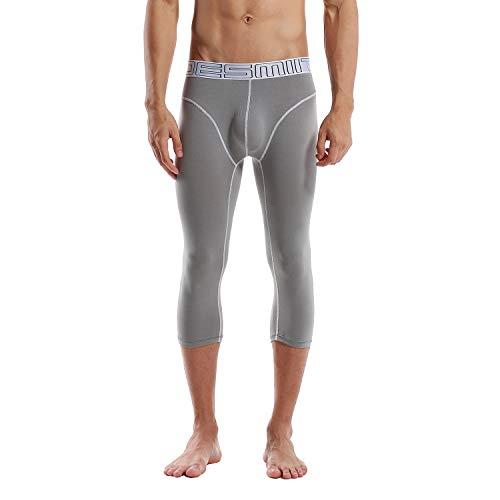 DESMIIT Men's Cotton Cropped Warm Underwear Winter Inner Pants Grey Asian XL