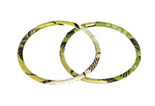 Juego de 2 pulseras de tela 100% Wax fabricadas en Francia de tipo africano. Color amarillo verde crema. Joya colorida elegante hecha a mano. Idea de regalo original para mujer. Tienda Mansaya Paris.