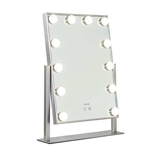 Melur Hollywood erhellt die Eitelkeit Make-up-Spiegel Silber mit LED-Leuchten für den Schminktisch, professionell beleuchteter Kosmetikspiegel mit 12 dimmbaren Glühbirnen inklusive Netzteil