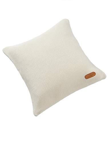 Bio Strick-Kissenbezug 100% Bio-Baumwolle (kbA) GOTS zertifiziert, Elfenbein, 40 x 40 cm