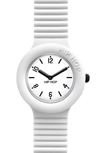 Orologio HIP HOP donna ESSENTIAL quadrante bianco e cinturino in silicone bianco, movimento SOLO TEMPO - 3H QUARZO