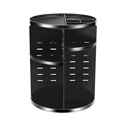 Coyaho 360° Rotating Makeup Organizer, Spinning Bathroom Organizer Countertop, Cosmetic Organizer Makeup Holder Shelf, Make Up Organizers and Storage for Bedroom, Black