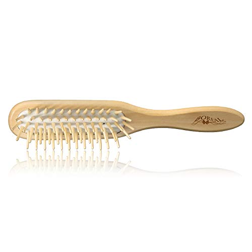 Natürliche holz haarbürste antistatisch pneumatisch. Natural hair Brush, cushion rubber, antistatic.