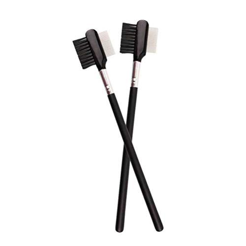 Lurrose 2pcs peignes à sourcils double usage pratique poignée en bois cosmétiques fournitures dents peigne brosses cils pour filles femmes