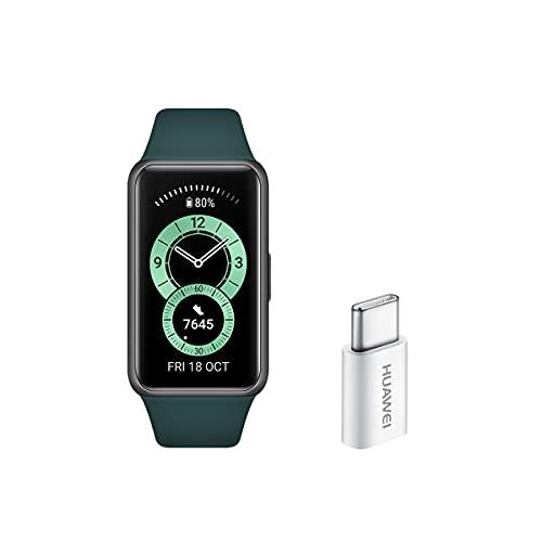 Huawei Band 6 - Pulsera de actividad con monitorización de Oxígeno en sangre (SpO2) 24horas y Adaptador USB-C, Pantalla FullView de 1.47 pulgadas, Batería para dos semanas, Verde