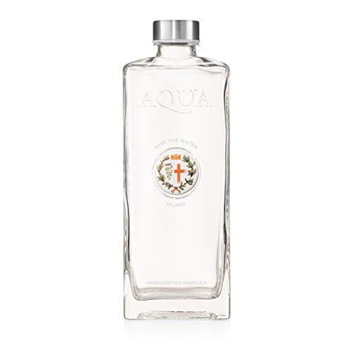 Élégante bouteille d'eau de Venise artistique en verre de 1 litre avec médaillons en verre artisanal et céramique artisanale