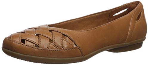 Clarks Women's Gracelin Maze Ballet Flat, tan Leather, 070 W US