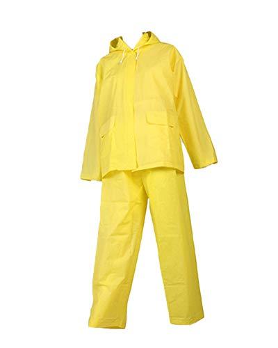 Eva Durable Pluie Manteau Pluie Unisexe Hommes Femmes avec Poids Léger Capuchon Et À Manches Top + Pantalon Deux Pièces Jaune M
