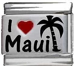 I Heart Maui Red Heart Laser Italian Charm