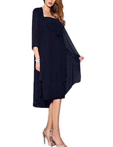 HUINI Brautmutter Kleider mit Jacke Wadenlang Chiffon Perlen Hochzeitskleid Abendkleid Ballkleid Festkleider Navy